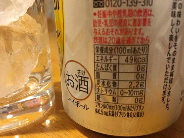 角ハイボールの糖質