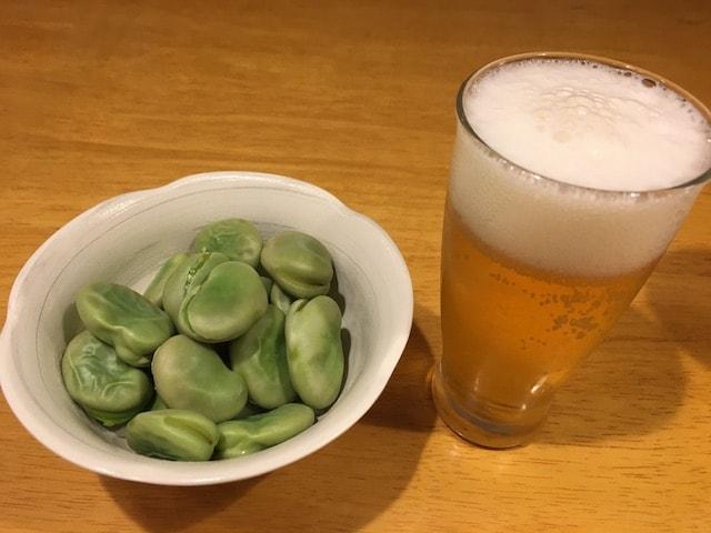 そら豆とビール