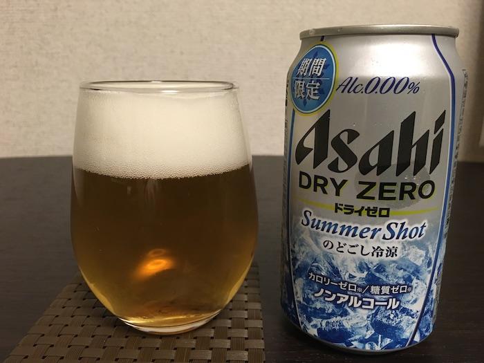 ドライゼロ Summer Shot缶とグラス