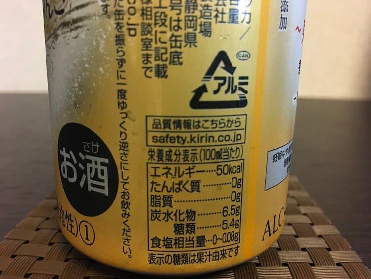 本搾り「薫りぶどう&芳醇りんご」100ml当たりの栄養成分