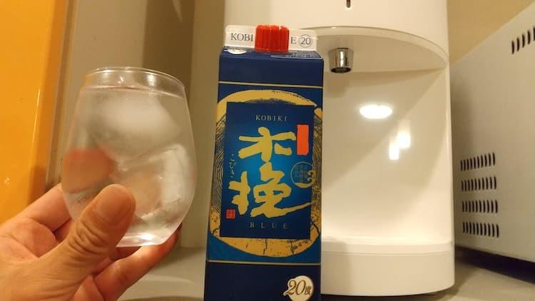 浄水型ウォーターサーバーと木挽ブルーの水割り